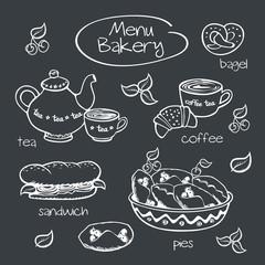 Bakery menu. Drawing with chalk on a blackboard.