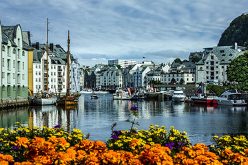 Seafront of town and sea port Alesund, Norway.
