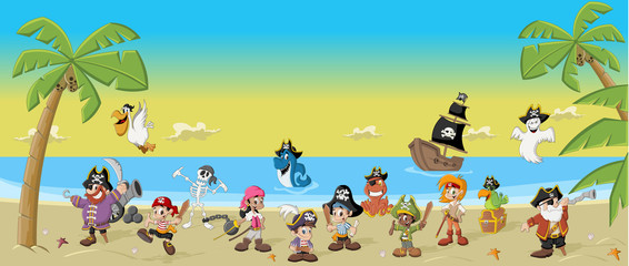 Cartoon pirates with funny animals on a beautiful tropical beach © denis_pc
