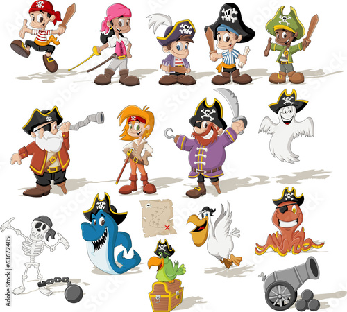 Group of cartoon pirates with funny animals - 63672485