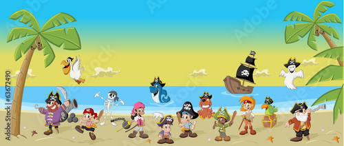Cartoon pirates with funny animals on a beautiful tropical beach