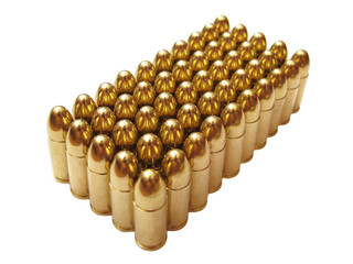 9mm luger ammunition on white background. 50 bullets in package.