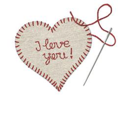 I love you, Leinenherz umsäumt mit rotem Garn