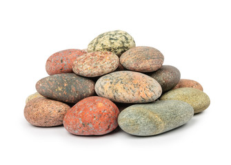 Pile of granite stones isolated on white background