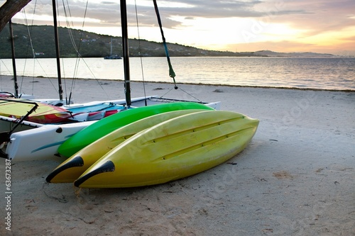 sports boats on seashore