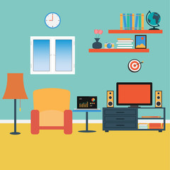 Vector of Living Room .Sofa ,Windows ,Book