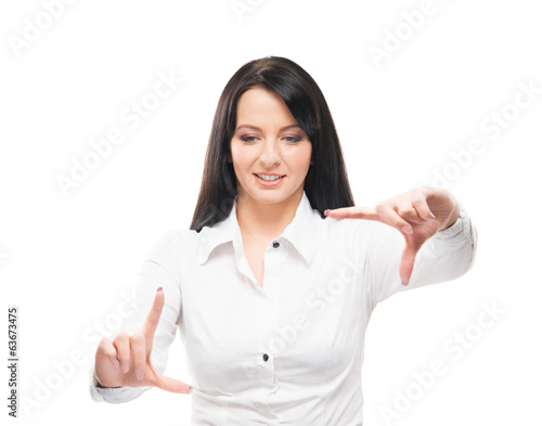 A businesswoman holding hands isolated on white