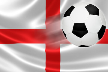 Soccer Ball Leaps Out of England's Flag