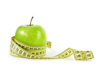 apple with measuring tape, clipping path