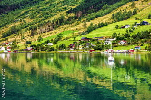 Natural rural landscape. Town and cruise port Olden in Norwegian