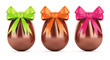 Chocolate easter eggs with ribbons