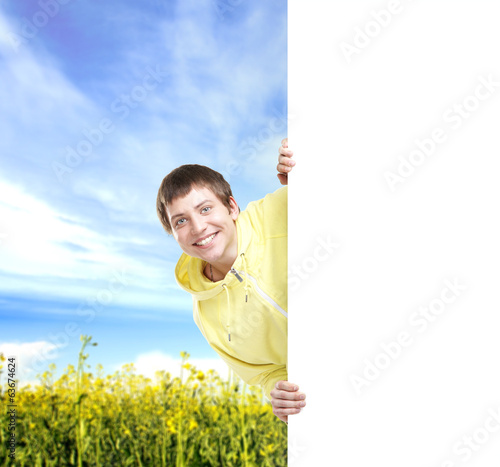 Boy with a blank banner. Perfect space to put any text.