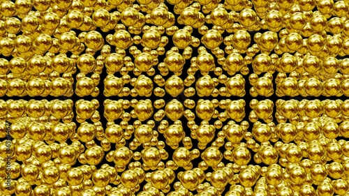 Abstract spheres in gold color