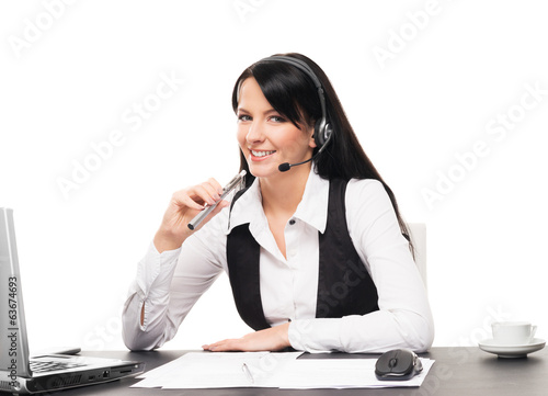 A businesswoman with an electronic cigarette