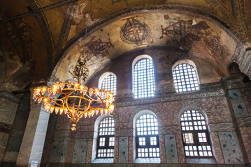 Old chandelier under the dome of Hagia Sophia