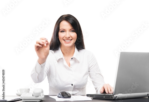 A business woman working in office isolated on white