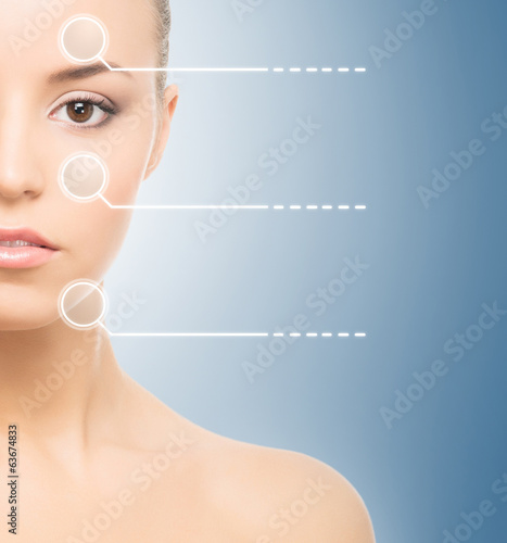 A fresh and natural woman with dotted arrows