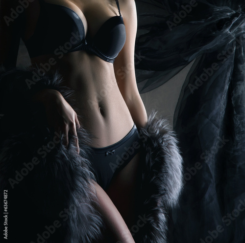 Sexy body of a woman posing in lingerie and fur