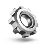 3D metallic gear isolated on white background