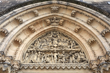 View of tympanum of St Peter and St Paul basilica