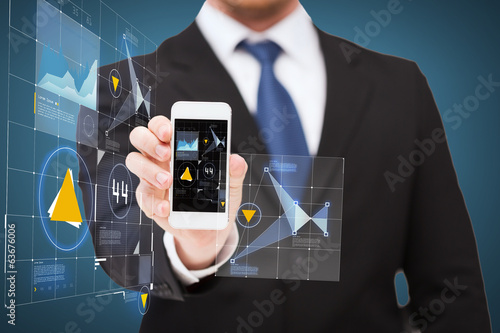 businessman showing smartphone with virtual screen