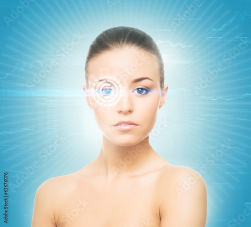 A woman from future with a laser hologram on her eyes