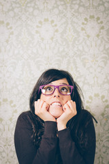 Worried and nervous woman on trouble