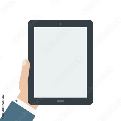 blank tablet holding flat design isolated background