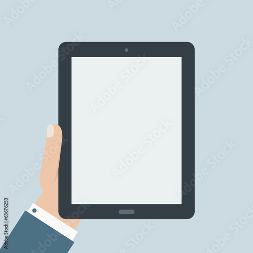 blank tablet holding flat design
