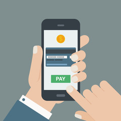 mobile payment hand holding phone flat