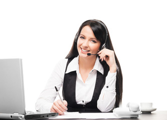 Beautiful customer support operator working in a call center