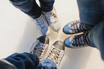 background of group ice skates, Medeo, Almaty in Kazakhstan