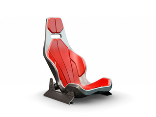 Racing leather carbon fiber seat isolated on white background