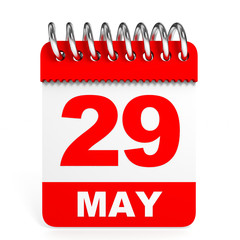 Calendar on white background. 29 May.