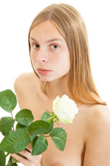 beautiful naked girl with white rose