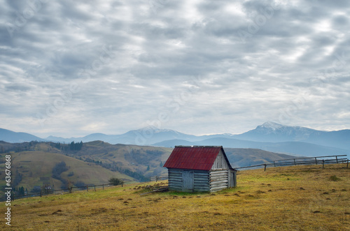 Wooden hut in the mountains