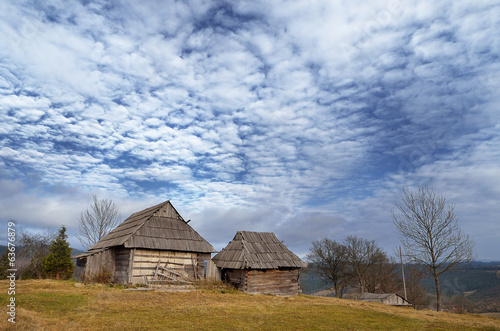 Dilapidated wooden houses