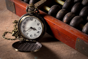 Pocket watch with old abacus
