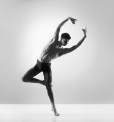 A handsome, sporty and athletic ballet dance