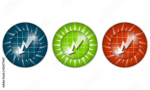 set of three colored icons with flash