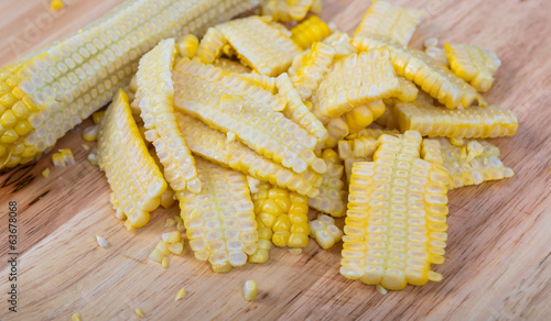 Fresh corn on wood