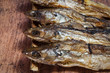 Dried fishes on wood table