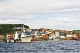 Mussel aquaculture boats anchored on Pesqueira, Cabodecruz poster