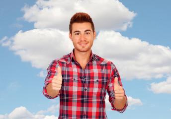 Young men with plaid shirt saying Ok