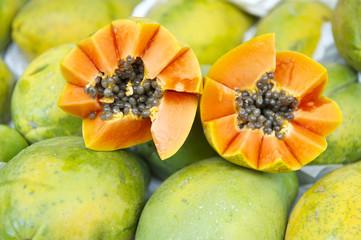 Fresh Cut Juicy Papaya Mamao Fruit at Brazilian Farmers Market