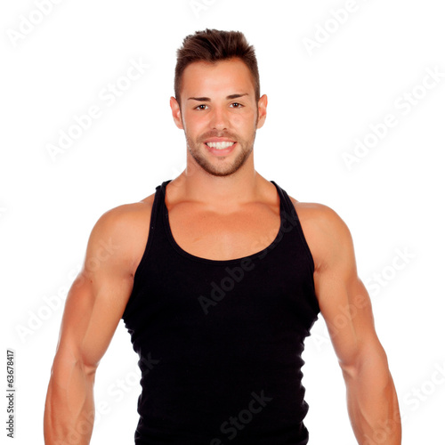 Strong man with black t-shirt