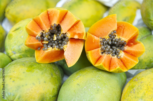Fresh Cut Juicy Papaya Mamao Fruit at Brazilian Farmers Market