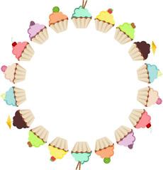 Cupcake Round Frame