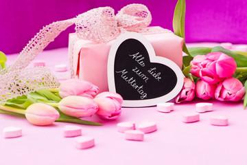 rosa Tulpen, Herzen, Geschenk, Tafel, Alles Liebe zum Muttertag