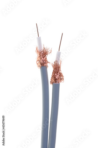 Coaxial cables isolated on white background